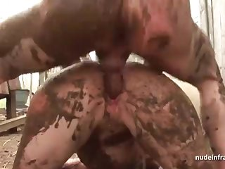 Bony simple brown-haired rectal banged n spunked outdoor in a filthy french farm