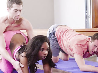 Horny disastrous babe fucks her yoga school with an increment of her buddy