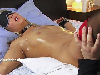 Tied blonde less dripping wet pussy beaten to orgasm