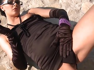 Euro gal beside glasses with the addition of gloves is a naughty cocksucker