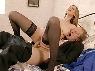 Busty blonde rides cock in a hot anal video