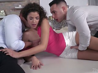 Lecherous curly dour Bunny Love gets facial after a hardcore DP sex