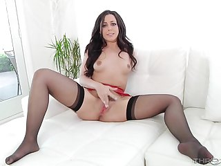 Beautiful unreserved plays in will not hear of hairy cunt together with sucks a dick