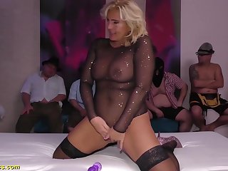 obese boob chubby real flexible milf enjoys her first german bukakke group bang party orgy
