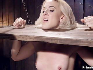Blond sub toyed and made squirting