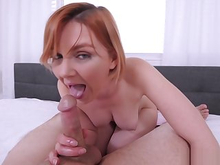 Busty MILF stepmom played with a heavy dick at be passed on morning