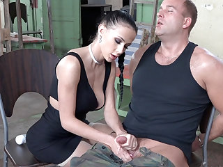 Sexy brunette mime dick of military