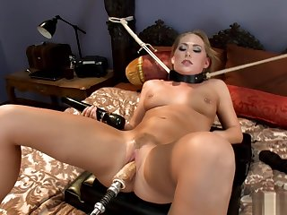 Pierced nipples blonde contraption banged