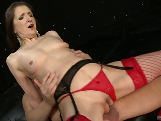 Granny Gilly Sampson in red stockings loves to suck substantial cocks