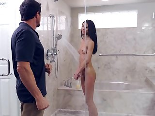 Jada Doll gets fucked by her stepdad in a catch shower