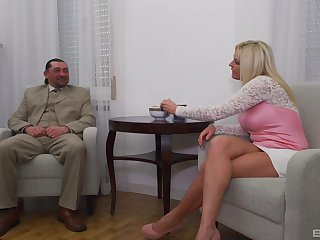 Mature tow-headed wife with fake heart of hearts rides a fat dick - Krisztina Szigeti