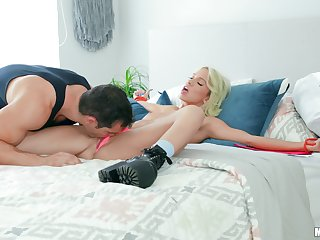 Blonde girl gets likely with respect to the bed and fucked in premium modes