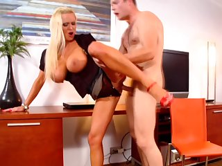 Dissimulate tits blonde Sharon Pink fucked from behind by a alluring gay blade