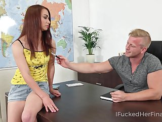 Mischievous coed bangs her geography teacher on apprise be fitting of of his desk