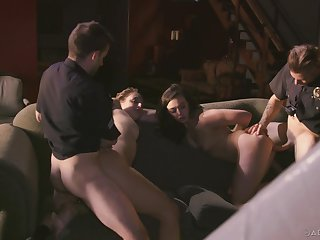 Bitches try a naughty foursome with two cops with heavy dicks