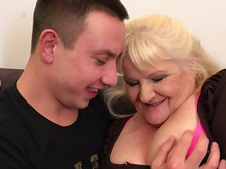 Leona is a dirty minded, pretty good granny who likes to wear black fishnets and have sex younger guys