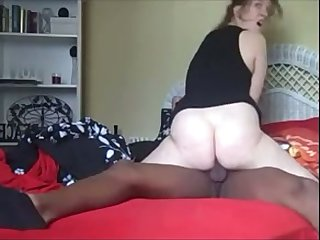 Cheating whorish wife is so busy anent riding undaunted black cock